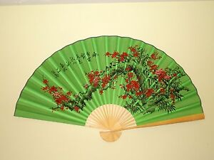 """NEW ORIENTAL BAMBOO GREEN & WHITE CHERRY BLOSSOM FLOWERS WALL FAN 60"""" X 35"""""""