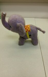 "Elephant toy Vintage Wind Up walking 7"" Japan lilac purple nostalgic rare figure"