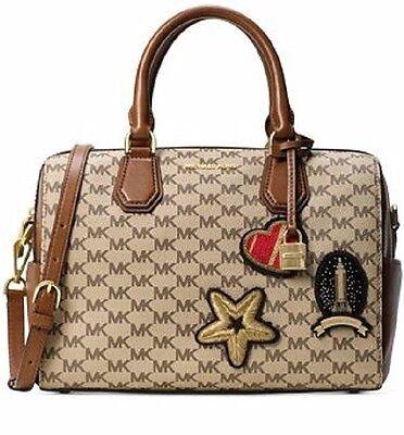 New Michael Kors Studio Mk Logo Patches Mercer Natural Luggage Duffle Bag Tote 190049627402 Ebay