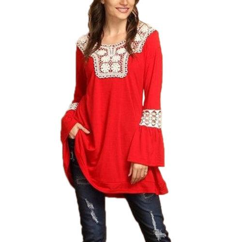 Damen Spitze Langarmshirt Freizeit Top T-Shirt Tunika Bluse Oberteil Übergröße