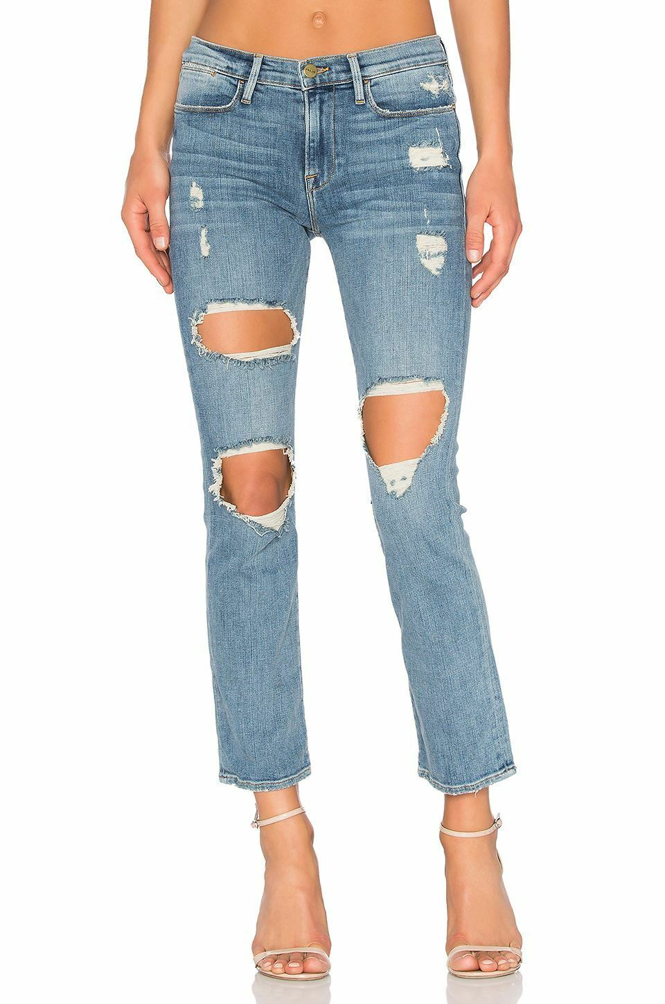FRAME LE HIGH STRAIGHT DISTRESSED JEANS IN LE DEBS W25