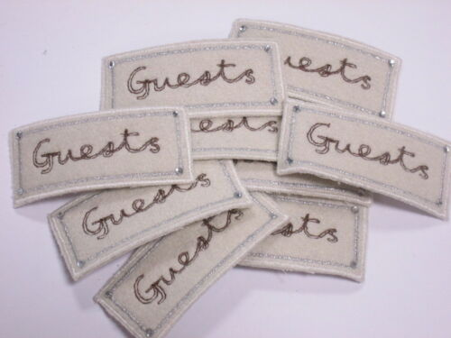 Set of 10 Cream Guest Book Diamante Embroidered Card Making Motifs Swatches#6R46