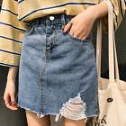 Vintage 20s Light Blue High Waist A Line Mini Denim Skirt Jean Skater Skirts