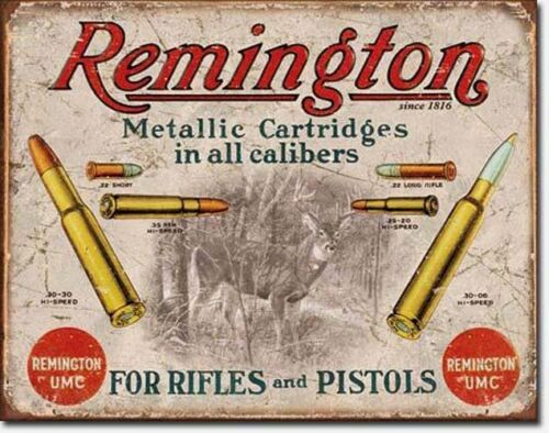 * Vintage Remington Werbung Jagdmotiv Schild Deko Poster Reklameschild  *587