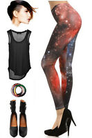 COSMIC Black GALAXY Print Mid Rise Tight Fit SUPER NOVA SPACE Leggings