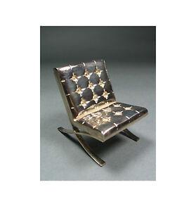 "Vintage ACME Studio MIES VAN DER ROHE Mini Sterling Silver ""Barcelona"" Chair NEW"
