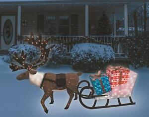 Outdoor-Christmas-Reindeer-Pulling-Sleigh-w-Presents-Box-9ft-Pre-Lit-Decor-NEW