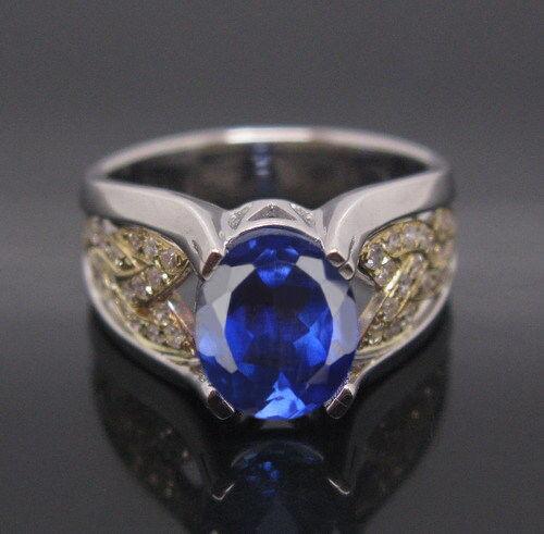 14KT White gold 2.00 Carat Natural bluee Tanzanite IGI Certified Diamond Ring
