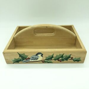 Hand-Painted-Christmas-Card-Pine-Box-W-Handle-Bird-Holly-Berries-Farmhouse-Tray