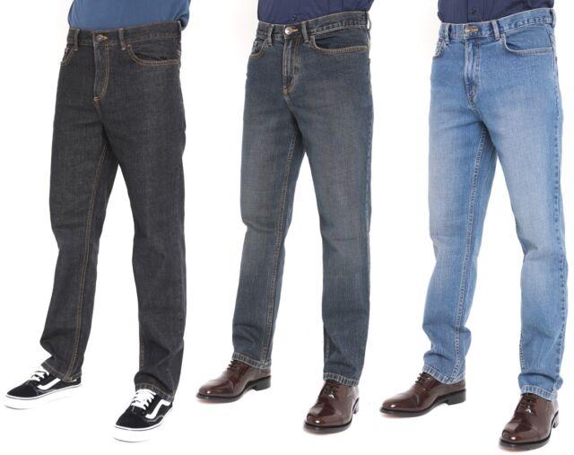 New Mens Straight Leg Jeans Regular Fit Plain Denim  All Waist /& Sizes
