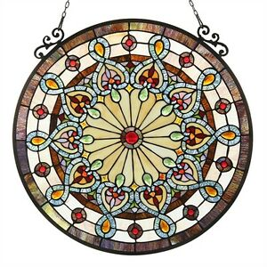 Round Tiffany Style Window Panel Victorian Stained Glass LAST ONE THIS PRICE