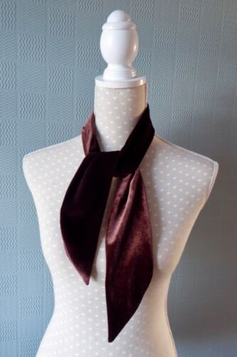 Brown velvet scarf hair scarf velvet hair wrap chocolate neckerchief velvet tie