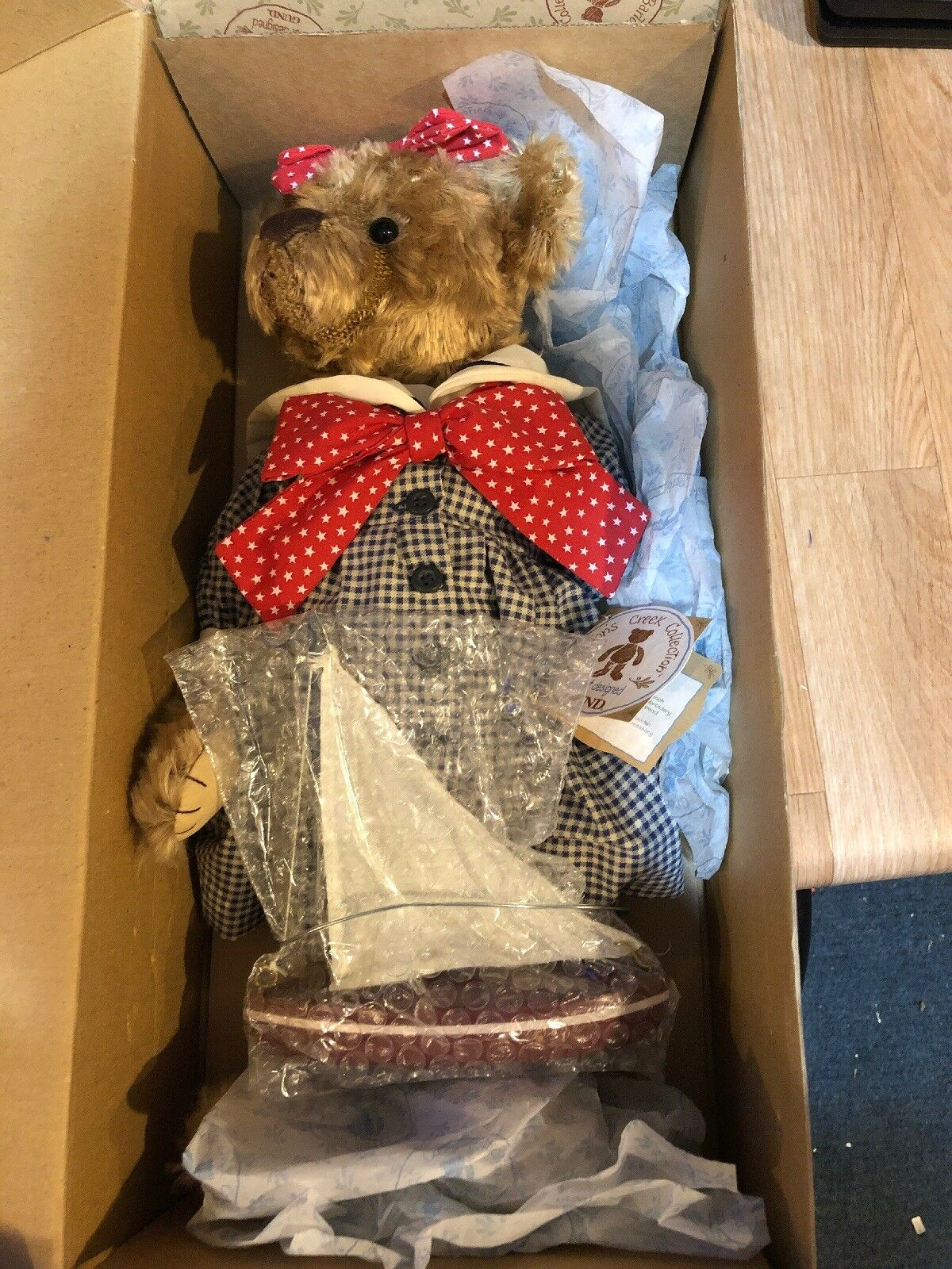 """Vintage Barton's Creek Collection Bear My Name Is Taylor With Boat Gund 17"""" New"""