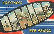 """DEMING NM """"GREETINGS FROM"""" LARGE LETTERS 1937  LINEN P/C"""