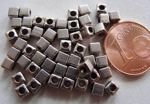 50 perles intercalaires cubes lisses métal argenté 3mm DIY bijoux déco MA21