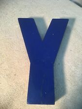 Letter Y Big Vtg Wood Block Type Italic Font 8in X 5in X 15in Blue