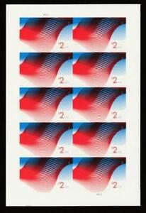 US 4954a MNH $2 Patriotic Waves IMPERF No Die Cuts - full pane of 20