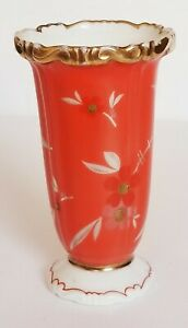 VINTAGE-SORAU-CARSTENS-PORZELLAN-MINI-ORANGE-GOLD-FLORAL-VASE-EUROPEAN-POTTERY