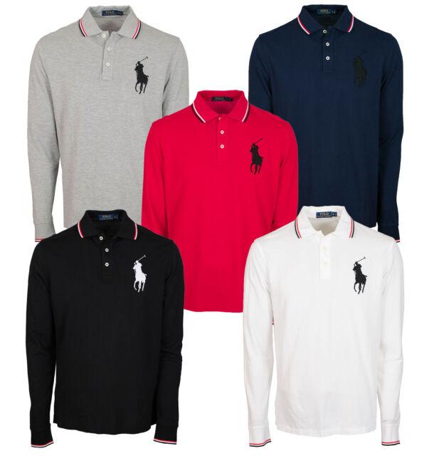 Polo Ralph Lauren Men\u0027s Big Pony Mesh Shirt Black Navy Andover Heater Red
