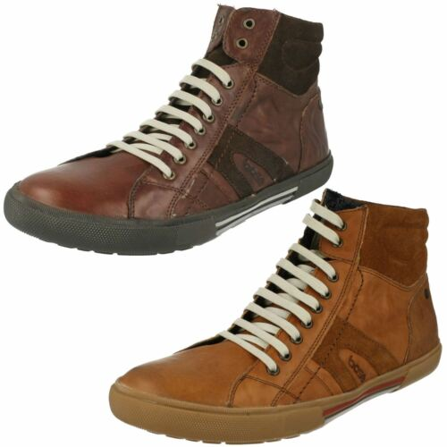 Mens Base London World Casual Leather Brown Or Tan Lace Up  Boots