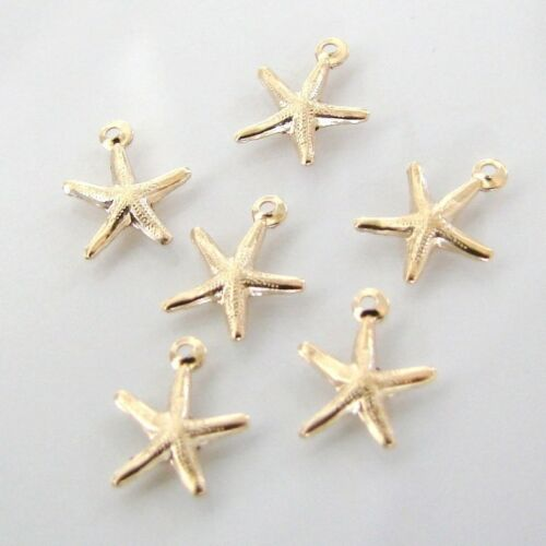 6 Gold Filled Tiny Starfish 8x8mm Made in the USA