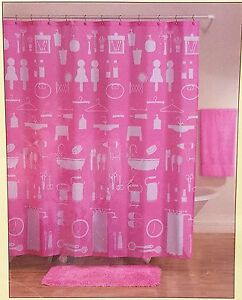Image Is Loading Pink Retro Silhoulette Fabric Shower Curtain 70x71 Allure
