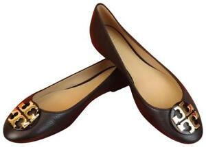 78ecfd7e4 NIB TORY BURCH CLAIRE BLACK TUMBLED LEATHER GOLD TONE REVA BALLET ...