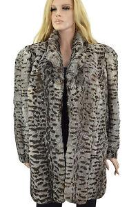 1-650-gris-marron-Rex-Rabbit-Fur-Coat-Veste-Taille-XL