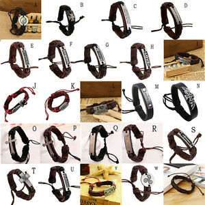 Punk-Mens-Boys-Leather-Braided-Metal-Studded-Surfer-Wristband-Bracelet-Bangle-F
