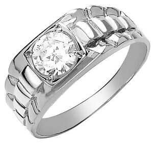 Men-039-s-9ct-White-Gold-Square-Top-Cubic-Zirconia-Gents-Ring-UK-Jewellers