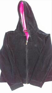 Oleg-Cassini-Heavy-Velour-Hoodie-Jacket-Womens-Medium-Yoga-Black-Pink-Lined-Hood