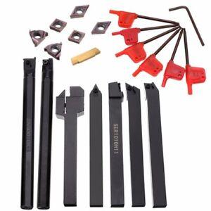 DCMT CCMT Carbide Insert Wrench Boring Bar Tool,7 Set 10mm Shank Lathe Turning Tool Holder Boring Bar