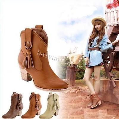 Roman Ladies Tassels Pointy Toe Block Heel Ankle Boots PU Leather Cowboy Fashion