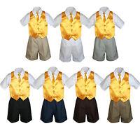 4pc Boy Toddler Formal Yellow Vest Necktie Khaki White Black Shorts Sz S-4t