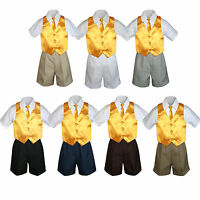 4pc Boy Toddler Formal Yellow Vest Necktie Khaki White Black Shorts Sz S-4t