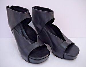 f271674376f Image is loading RICK-OWENS-1-325-black-leather-wedge-heels-