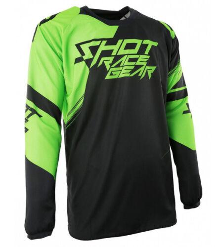 SHOT race gear CLAW motocross mens jersey LARGE  A0E-12B1-B02-10 blk//grn