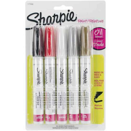 Sharpie Medium Point Oil-Based Opaque Paint Markers 5//Pkg  1770458 NEW