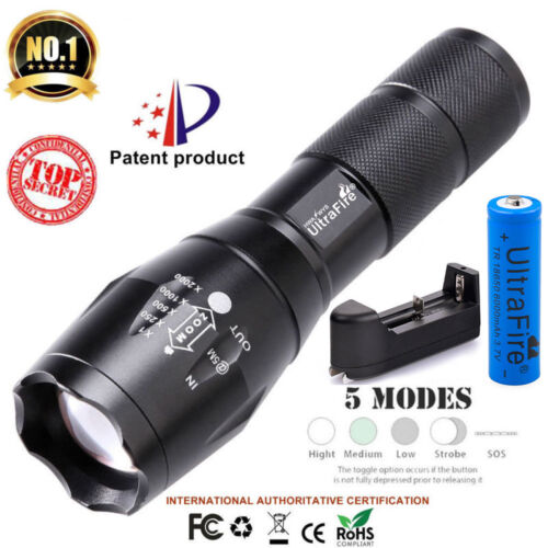 2X Tactical Ultrafire Flashlight T6 Bright 5 Modes Zoom Focus/&Charger Battery