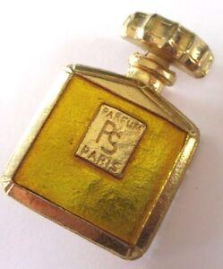 broche-bijou-vintage-flacon-de-parfum-de-Paris-couleur-or-email-jaune-dore-410