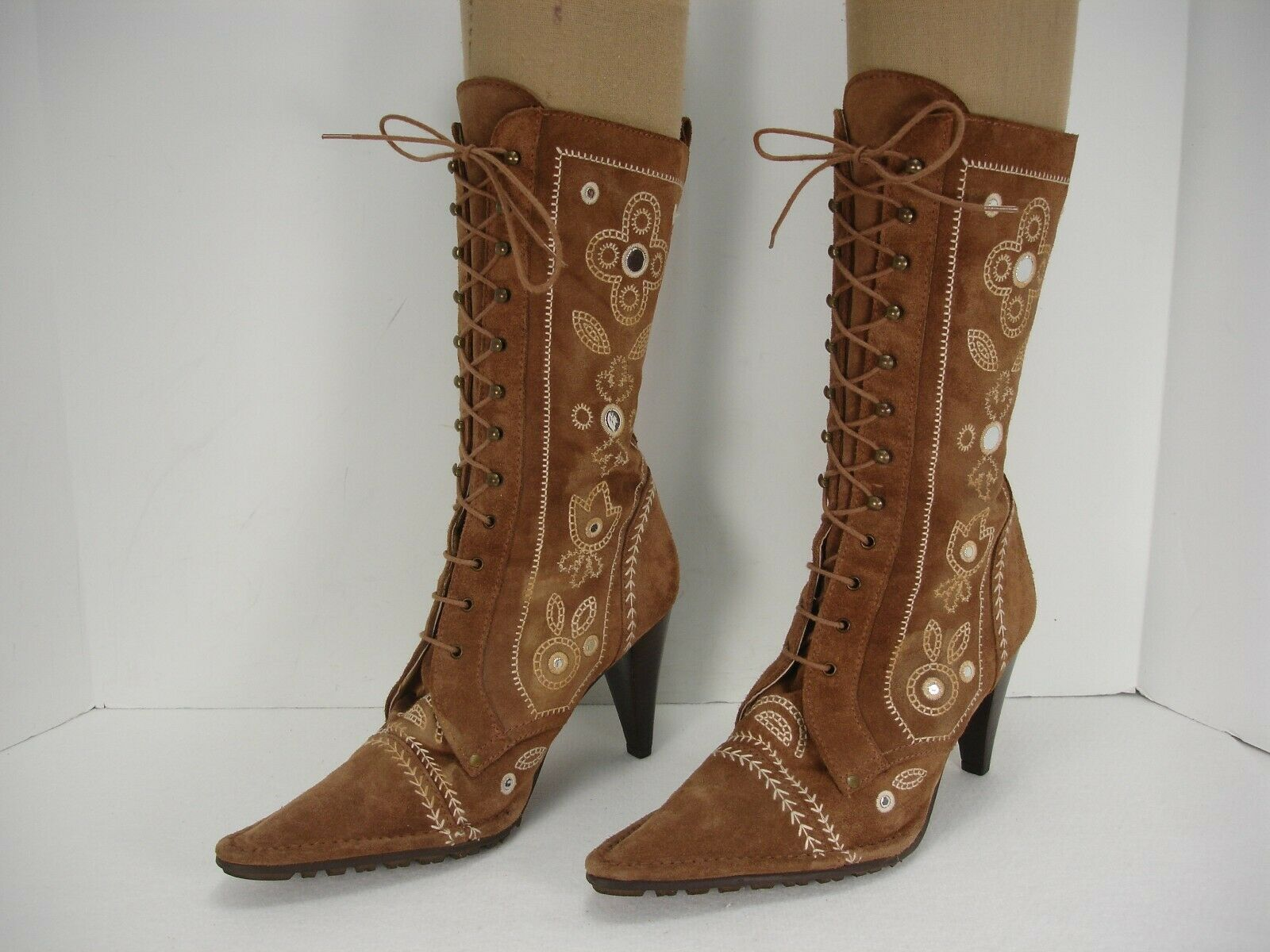 RAS BROWN DISTRESSED SUEDE EMBROIDERED LACE FRONT HIGH HEEL BOOTS WOMEN'S 38
