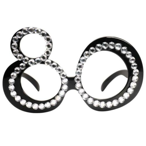 80th Age Diamante Birthday Novelty Party Eyewear Age Glasses Costume Props