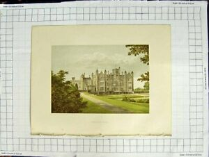 Old Antique Print 1880 Colour Plate View Merevale Hall Dugdale Atherstone 19th