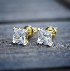 Mens-Women-039-s-Small-Gold-Princess-Cut-Solitaire-Lab-Diamond-Stud-Screw-Earrings
