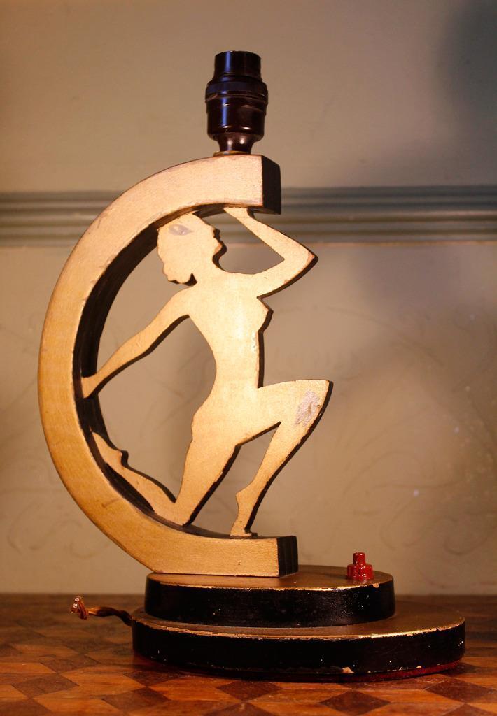 Superbe en Antique Art Deco Nude Dancing   en Superbe bois Lampe 20s/30s à clapet ODEON 4247c8