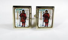 Gold Tone Cufflinks with a Yeomen Warder or Beefeater on Porcelain by Shields