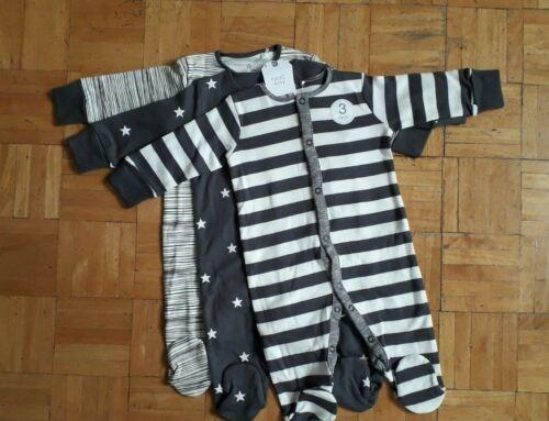 BNWT baby boys 3pk  Stripe Grey Charcoal Sleepsuits 18-24 months NEXT