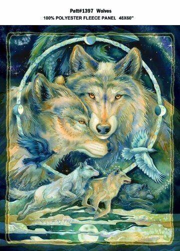 Wolf Wolves Animal Fleece Fabric Panel A330.02