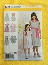 Sizes HH 3-6 Simplicity 1211 Girls Dress Sewing Patterns