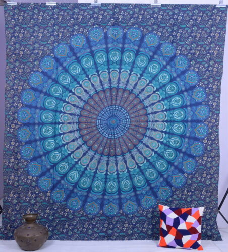 Indian Blue Mandala Tapestries Psychedelic Throw Bedspread Vintage Wall Hanging